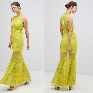 True Decadence Maxi Chartreuse Mermaid Lace Dress